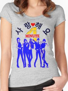㋡♥♫SaRangHaeYo(Love) Hot Fabulous K-Pop Girl Group-4Minute Clothing & Stickers♪♥㋡ Women's Fitted Scoop T-Shirt