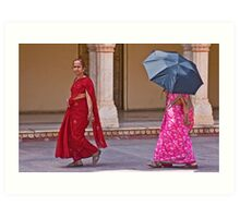 Indian ladies visiting the City Palace in Jaipur Art Print