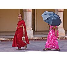 Indian ladies visiting the City Palace in Jaipur Photographic Print