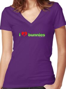 I Love Bunnies Women's Fitted V-Neck T-Shirt