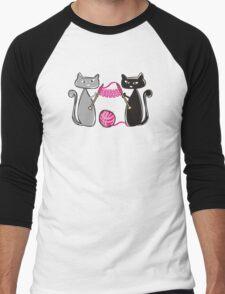 Knitting needles cats with yarn t-shirt Men's Baseball ¾ T-Shirt