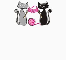Knitting needles cats with yarn t-shirt Womens Fitted T-Shirt