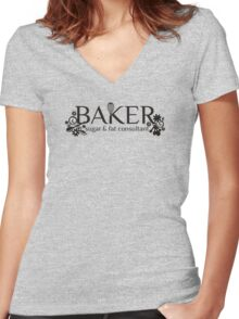 Baker sugar and fat consultant funny baking t-shirt Women's Fitted V-Neck T-Shirt
