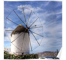 Thatched Windmill on Mykonos Poster