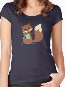 Cute fox crochet hooks fluffy yarn t-shirt Women's Fitted Scoop T-Shirt
