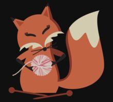 Cute fox knitting needles fluffy yarn t-shirt Kids Clothes