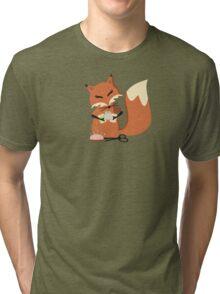 Cute fox seamstress sewing thread scissors Tri-blend T-Shirt