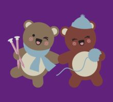 Cute kawaii bears knitting needles yarn t-shirt by BigMRanch