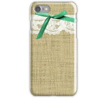 girly burlap and lace with mint green bow iPhone Case/Skin