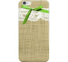 girly burlap and lace with chartreuse green bow iPhone Case/Skin
