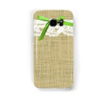 girly burlap and lace with chartreuse green bow Samsung Galaxy Case/Skin