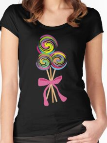 giant swirly lollipops candy bow t-shirt Women's Fitted Scoop T-Shirt