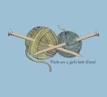 purls a girl's best friend funny knitting t-shirt by BigMRanch