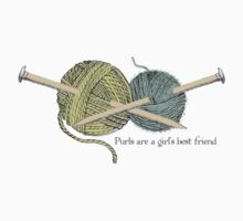 purls a girl's best friend funny knitting t-shirt Kids Clothes