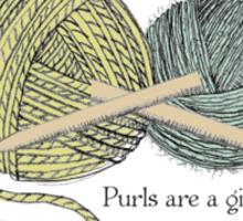 purls a girl's best friend funny knitting t-shirt Sticker