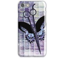 hair stylist scissors shears butterfly grunge purple iPhone Case/Skin