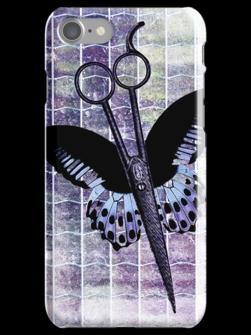 hair stylist scissors shears butterfly grunge purple by hellohappy