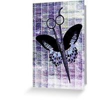 hair stylist scissors shears butterfly grunge purple Greeting Card