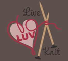live love knit knitting needles heart yarn Baby Tee
