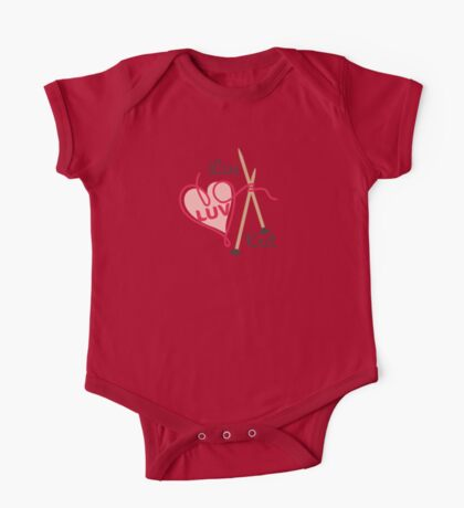 live love knit knitting needles heart yarn One Piece - Short Sleeve