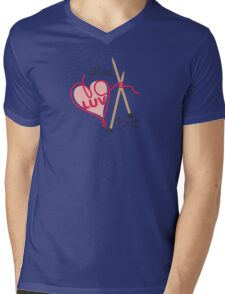 live love knit knitting needles heart yarn Mens V-Neck T-Shirt