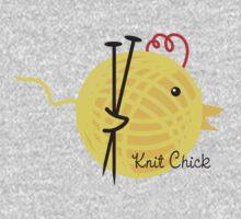 knitting needles knit chick ball of yarn Baby Tee