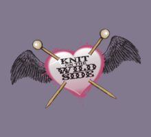 knit on the wild side knitting needles tattoo Kids Tee