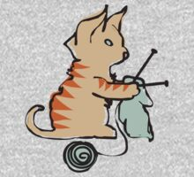 Cute cat knitting needles ball of yarn by BigMRanch