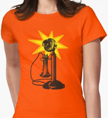 Vintage retro telephone starburst ring Womens Fitted T-Shirt