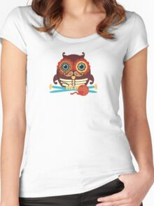 knitting needles owl paisley mustache steampunk skeleton Women's Fitted Scoop T-Shirt