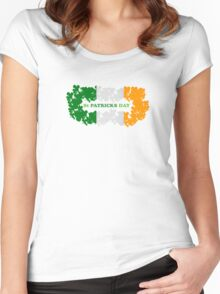 St Patricks Day Flag Clovers Women's Fitted Scoop T-Shirt