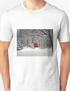 Red Barn in the Snow Unisex T-Shirt