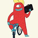 Cyclop monster on a bicycle by Alice Bouchardon