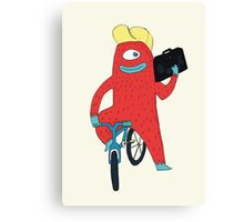 Cyclop monster on a bicycle Canvas Print