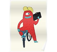 Cyclop monster on a bicycle Poster