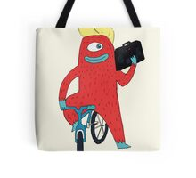 Cyclop monster on a bicycle Tote Bag