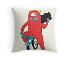 Cyclop monster on a bicycle Throw Pillow