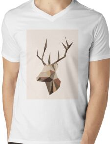 Geometric Fox Mens V-Neck T-Shirt