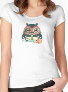 crochet hook owl paisley mustache steampunk skeleton Women's Fitted Scoop T-Shirt