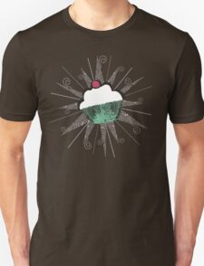 pop art cherry topped cupcake dark t-shirt T-Shirt