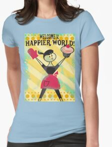 Happier World retro baking cupcake poster Womens Fitted T-Shirt