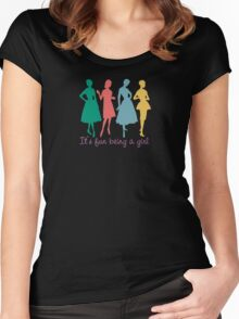 It's fun being a girl retro dress pattern models Women's Fitted Scoop T-Shirt