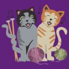 Singing cats knitting needles yarn by BigMRanch