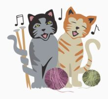 Singing cats knitting needles yarn Kids Clothes