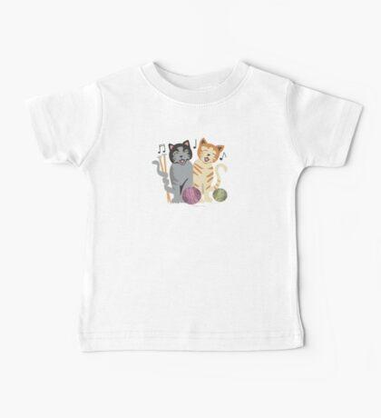 Singing cats knitting needles yarn Baby Tee