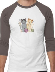 Singing cats knitting needles yarn Men's Baseball ¾ T-Shirt
