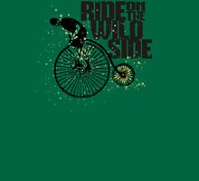 Penny farthing vintage bicycle mustache man wild side Womens Fitted T-Shirt