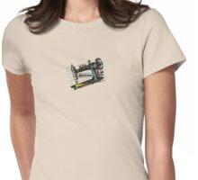 Vintage grunge sewing machine rickrack machine head Womens Fitted T-Shirt