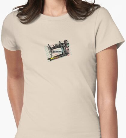 Vintage grunge sewing machine rickrack machine head Womens Fitted T-Shirt