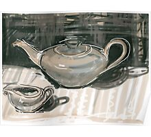 Teapot and Jug in Monochrome Poster